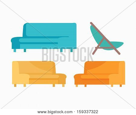 Set of luxury sofas and armchair. For modern room reception or lounge. Sofa in flat design. Living room house furniture. Detailed model illustration. Divan couch settee realistic objects. Vector