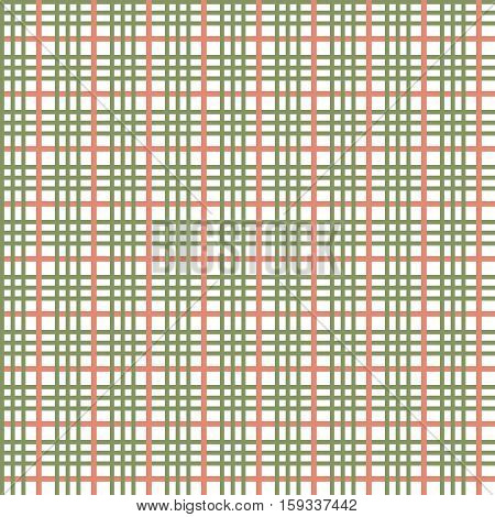 olive seamless pattern, three stripes olive green one red stripes intersect perpendicularly, the vector for the fabric or print seamless
