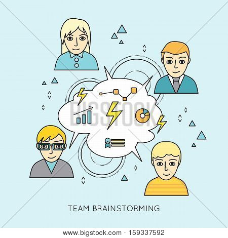 Team brainstorming concepts. Group of people brainstorming. Idea generation, problem solving, strategy solution, analysis innovation, research, good solution, optimization insight inspiration