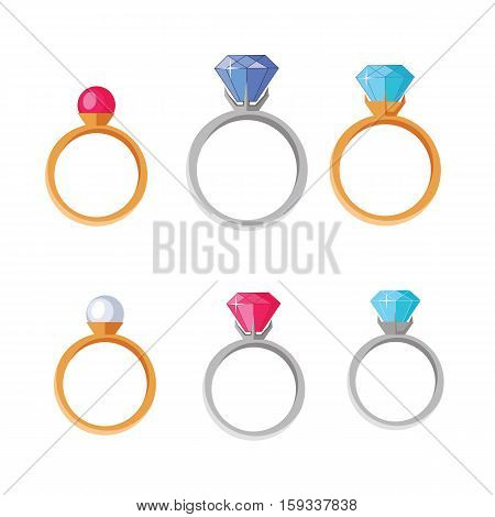 Jewelry Set of rings with gems of different colors isolated on white. Best wedding and engagement rings editable for your design. Luxury diamond rings collection. Jewels concept. Vector illustration
