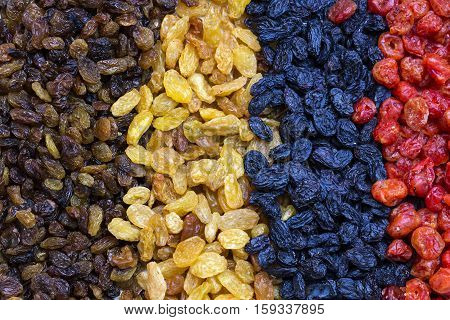 Background dried raisin grapes closeup shot Fruits