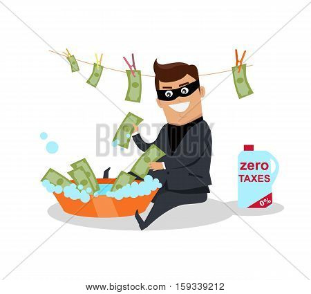 Money laundering concept vector. Flat design. Financial crime, tax evasion, money laundering, political corruption illustration. Man in a business suit, in mask washes the money in bowl with water.