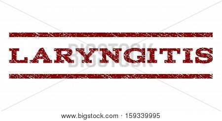 Laryngitis watermark stamp. Text caption between horizontal parallel lines with grunge design style. Rubber seal dark red stamp with scratched texture. Vector ink imprint on a white background.