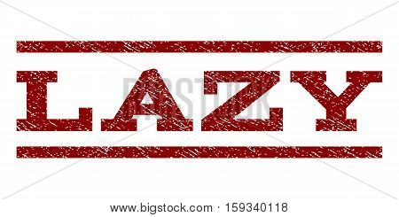 Lazy watermark stamp. Text caption between horizontal parallel lines with grunge design style. Rubber seal dark red stamp with dirty texture. Vector ink imprint on a white background.