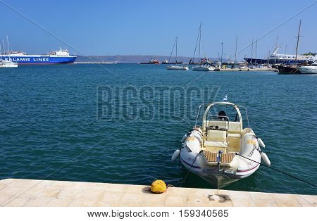 Lavrion Greece - Sept 18 2016: Dingo boat moored in marina. Greece very popular place of destination for spending time during vacation