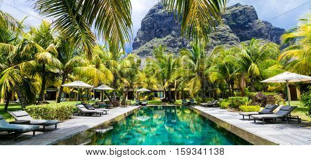 Luxury tropical vacation.Spa swimming pool, Mauritius island