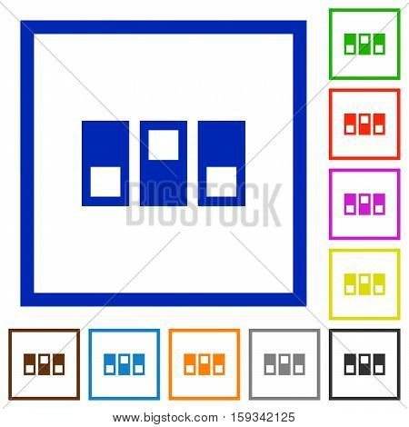 Switchboard flat color icons in square frames