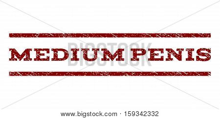 Medium Penis watermark stamp. Text tag between horizontal parallel lines with grunge design style. Rubber seal dark red stamp with dust texture. Vector ink imprint on a white background.
