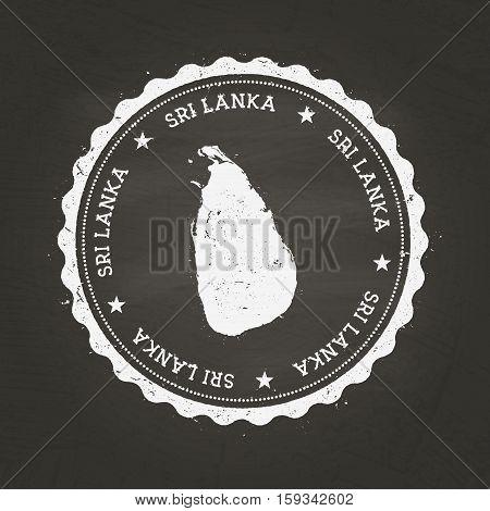 White Chalk Texture Rubber Stamp With Democratic Socialist Republic Of Sri Lanka Map On A School Bla