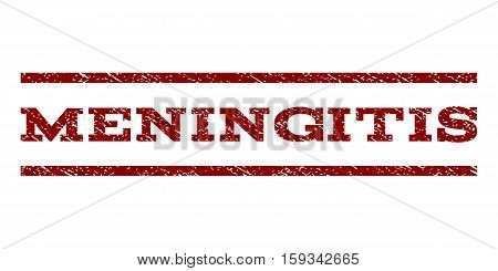 Meningitis watermark stamp. Text caption between horizontal parallel lines with grunge design style. Rubber seal dark red stamp with dust texture. Vector ink imprint on a white background.