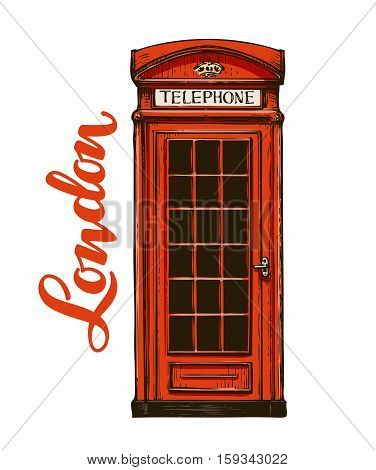 London, red phone booth. Vector illustration isolated on white background