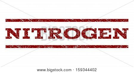 Nitrogen watermark stamp. Text tag between horizontal parallel lines with grunge design style. Rubber seal dark red stamp with unclean texture. Vector ink imprint on a white background.