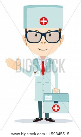 doctor with first aid bag . Stock vector illustration