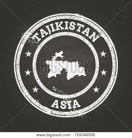 White Chalk Texture Grunge Stamp With Republic Of Tajikistan Map On A School Blackboard. Grunge Rubb
