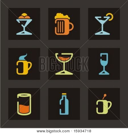 Restaurant icons set. Drinks. Check my portfolio for much more of this series as well as thousands of similar and other great vector items.
