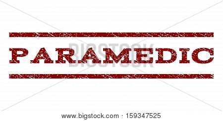 Paramedic watermark stamp. Text caption between horizontal parallel lines with grunge design style. Rubber seal dark red stamp with unclean texture. Vector ink imprint on a white background.