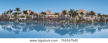ALCALA SPAIN - AUGUST 8: Luxury Hotel Resort Guia de Isora palace at dusk in Tenerife Canary islands Spain on August 8 2016.