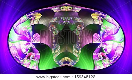 Capsule flying in plasma. 3D surreal illustration. Sacred geometry. Mysterious psychedelic relaxation pattern. Fractal abstract texture. Digital artwork graphic astrology magic