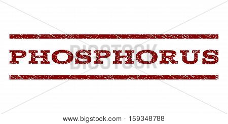 Phosphorus watermark stamp. Text caption between horizontal parallel lines with grunge design style. Rubber seal dark red stamp with dust texture. Vector ink imprint on a white background.