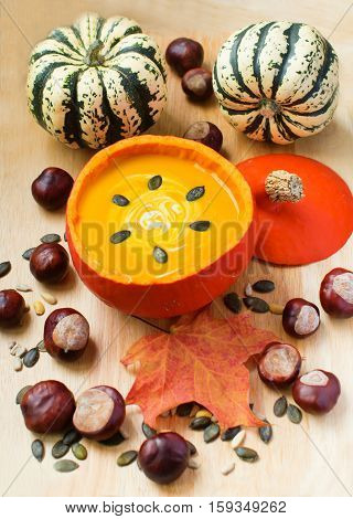 Pumpkin Soup With Cream And Seeds