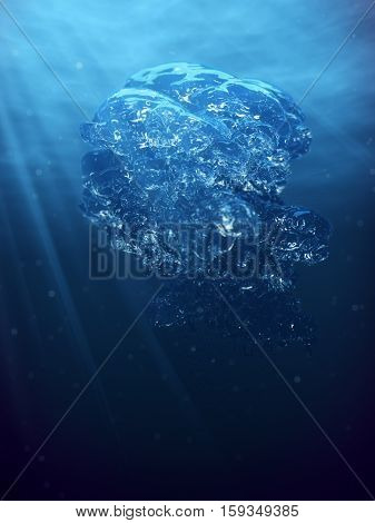 Abstract underwater scene air bubbles and sun ray in deep blue sea 3D rendering