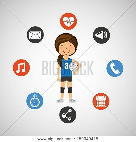 sport girl volleyball player graphic vector illustration eps 10