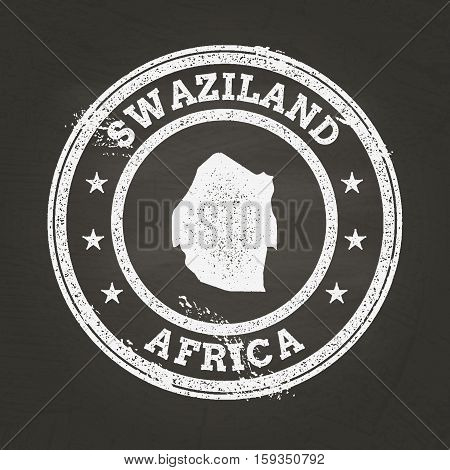 White Chalk Texture Grunge Stamp With Kingdom Of Swaziland Map On A School Blackboard. Grunge Rubber