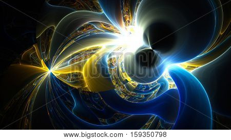 Shining colored plasma. 3D surreal illustration. Sacred geometry. Mysterious psychedelic relaxation pattern. Fractal abstract texture. Digital artwork graphic astrology magic