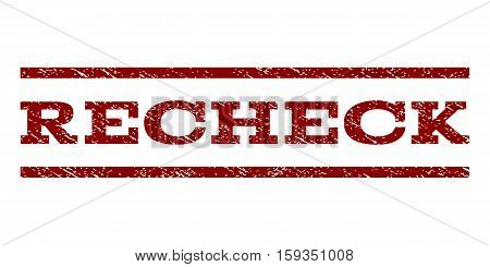 Recheck watermark stamp. Text tag between horizontal parallel lines with grunge design style. Rubber seal dark red stamp with dirty texture. Vector ink imprint on a white background.