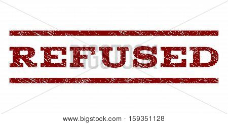 Refused watermark stamp. Text caption between horizontal parallel lines with grunge design style. Rubber seal dark red stamp with dirty texture. Vector ink imprint on a white background.