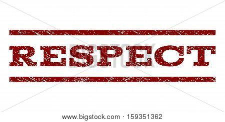 Respect watermark stamp. Text caption between horizontal parallel lines with grunge design style. Rubber seal dark red stamp with unclean texture. Vector ink imprint on a white background.
