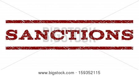 Sanctions watermark stamp. Text tag between horizontal parallel lines with grunge design style. Rubber seal dark red stamp with scratched texture. Vector ink imprint on a white background.
