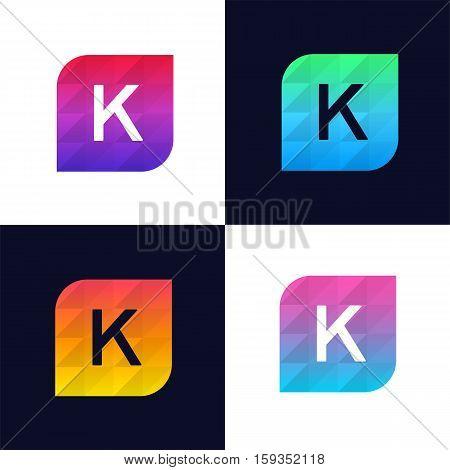 K letter logo icon mosaic polygonal colorful shape element. Creative company sign vector design
