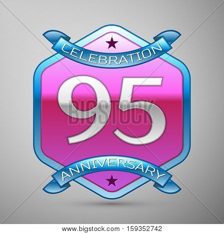 Ninety five years anniversary celebration silver logo with blue ribbon and purple hexagonal ornament on grey background. Anniversary logo for celebration, birthday, wedding, party.