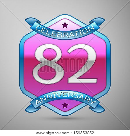 Eighty two years anniversary celebration silver logo with blue ribbon and purple hexagonal ornament on grey background.