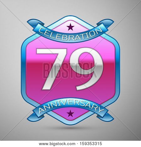 Seventy nine years anniversary celebration silver logo with blue ribbon and purple hexagonal ornament on grey background.