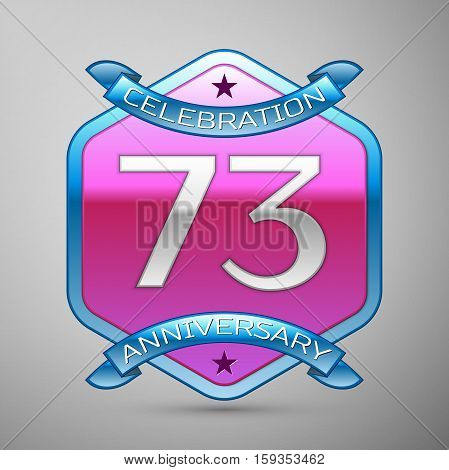 Seventy three years anniversary celebration silver logo with blue ribbon and purple hexagonal ornament on grey background.
