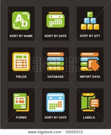 Farbe Symbol Serie. Database-Icons gesetzt. Überprüfen Sie mein Portfolio für viel mehr von dieser Serie.