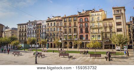 PAMPLONA, SPAIN - NOVEMBER 2, 2016: Panorama of the central square Plaza Del Castillo in Pamplona, Spain