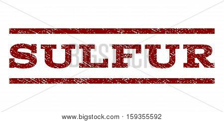 Sulfur watermark stamp. Text caption between horizontal parallel lines with grunge design style. Rubber seal dark red stamp with dust texture. Vector ink imprint on a white background.