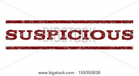 Suspicious watermark stamp. Text caption between horizontal parallel lines with grunge design style. Rubber seal dark red stamp with dust texture. Vector ink imprint on a white background.