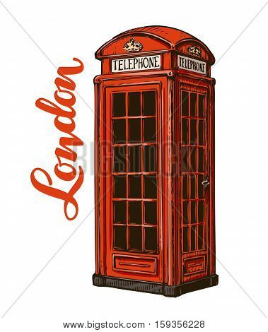 London phone booth. Vector illustration isolated on white background