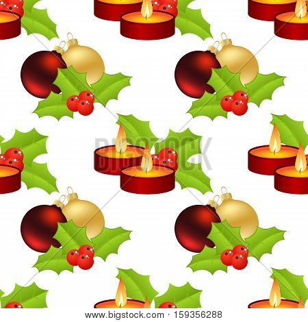 Christmas seamless with candles and balls and holly berries on white background.