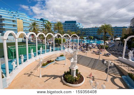 TENERIFE SPAIN - FEBRUARY 23. Mediterranean palace hotel in Las Americas on February 23 2016 in Adeje Tenerife Spain. Las Americas is one of the most popular and touristic resorts in Tenerife South area.