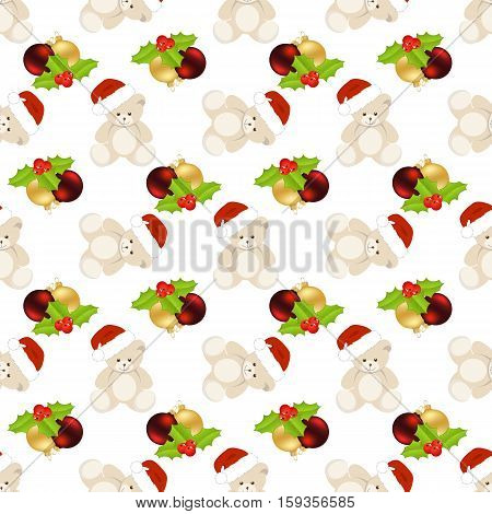 Christmas seamless with teddy bear and balls on white background.