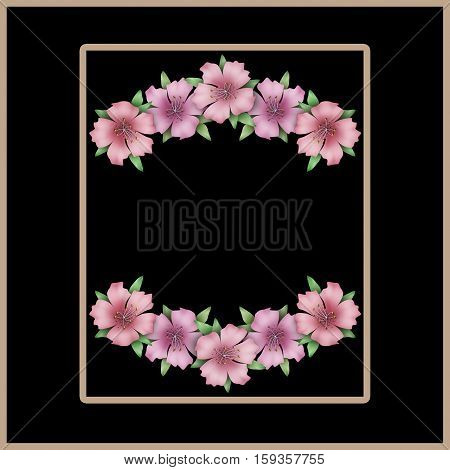 Flower frame. Floral border or card. Bouquet of pink azalea background with space for text