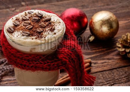 Close-up Hot Capuccino With Cinnamon On Christmas Background
