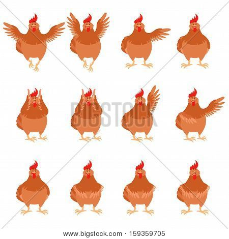Vector image of the Set of brown hen flat icons