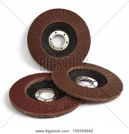 Closeup of red color flap abrasive discs