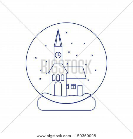 Vector Illustration Of Town Hall With Clock And The House Inside Glass Ball With Snow.